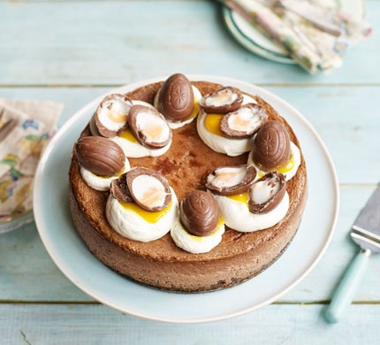 Double chocolate Easter egg cheesecake