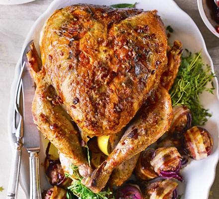 Crispy bacon-basted turkey