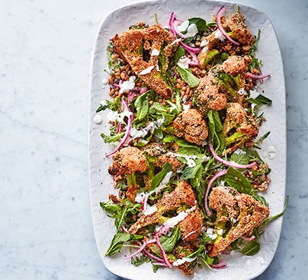 Crispy broccoli salad served on a plate