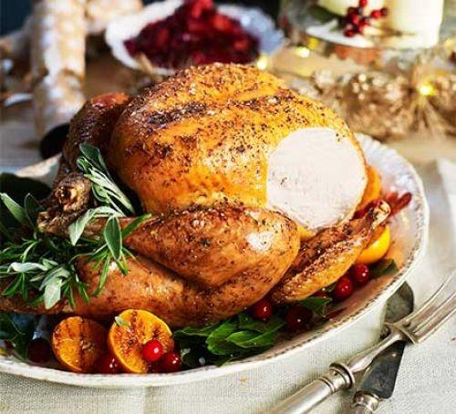 Roast turkey with lemon and gatlic on a plate