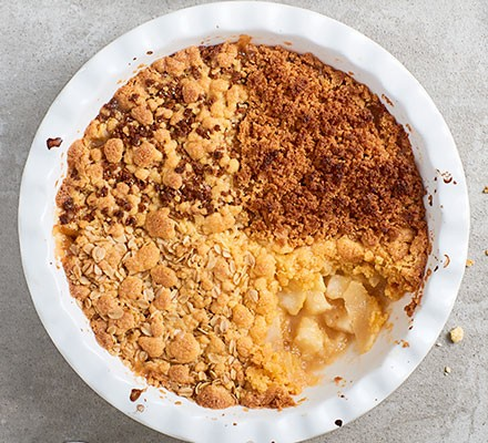 Next level apple crumble served in a bowl