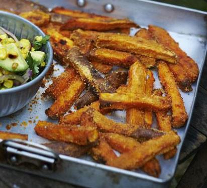 Crunchy smoked sweet potato chips