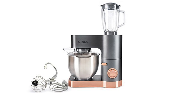 Crux Bake and Blend stand mixer on a white background