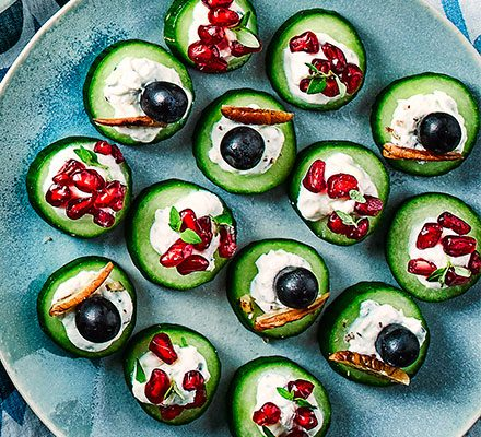 Cucumber & blue cheese canapés image