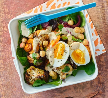 Roast veg with eggs and tahini dressing in a lunchbox