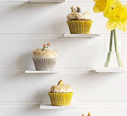 Easter nest coconut & white chocolate cupcakes