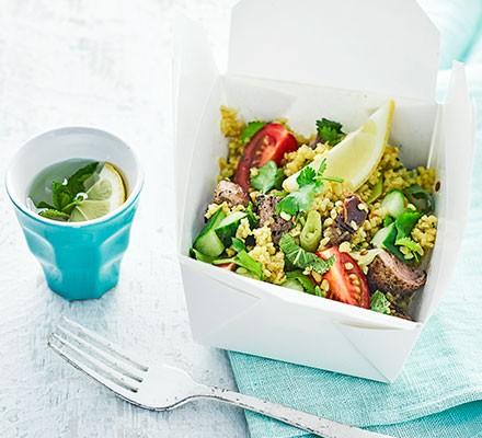 A lunchbox with curried pork bulgur salad