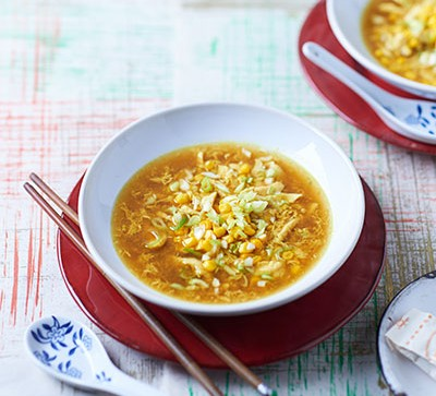 Curried sweetcorn soup with chicken