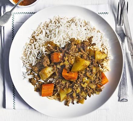 Indian beef keema with carrots & potatoes