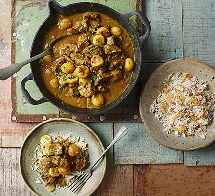 Beef, potato & banana curry with cashew rice