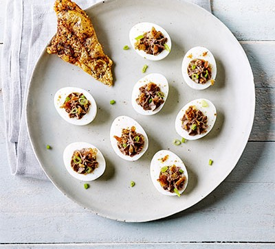 Devilled eggs with chicken liver pâté