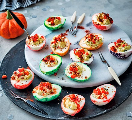 Devilled eggs served on a board