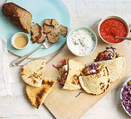 Doner kebab ingredients served on a serving platter