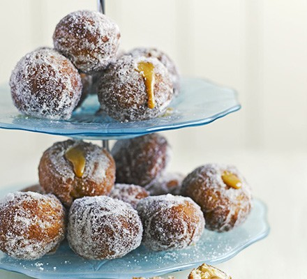Bite-sized toffee apple doughnuts