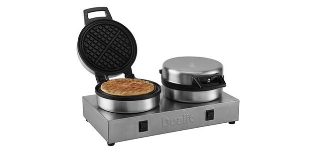Dualit waffle iron on a white background