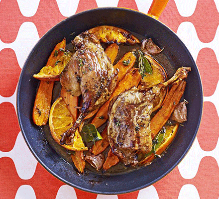 Tender roast duck with citrus & carrots