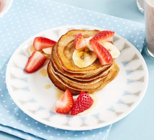 Three-minute blender banana pancakes in a stack