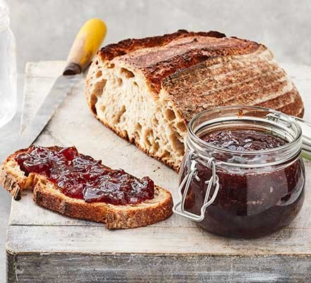 Easy cherry jam served with fresh bread