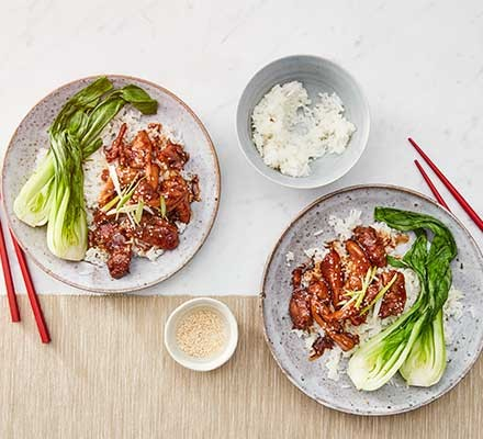Easy teriyaki chicken served with pan choi and rice