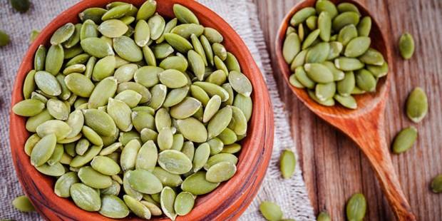 A bowl of pumpkin seeds