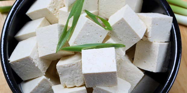 A bowl of cubed firm tofu