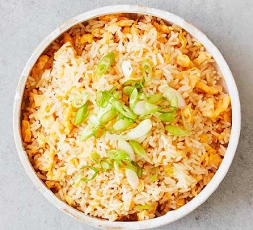 Egg fried rice in a bowl