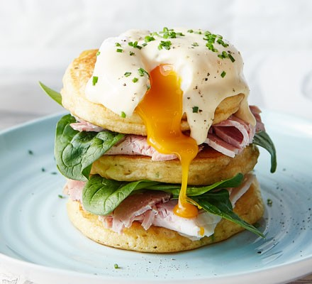 Pancakes with ham, spinach and egg