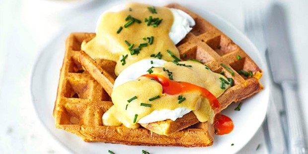 Waffles with eggs benedict topping