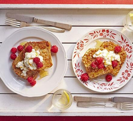 Eggy spelt bread with orange cheese & raspberries