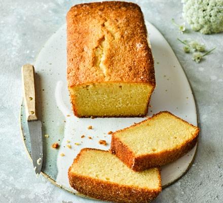 Elderflower cake with slices cut