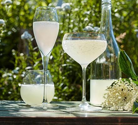 Elderflower champagne served in glasses