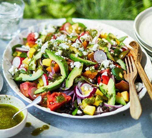 Large summer salad on a plate