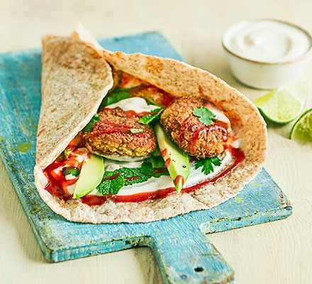5-ingredient falafel served in wrap