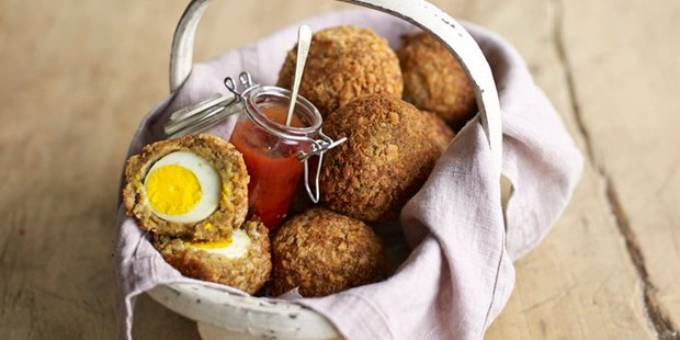 Falafel Scotch eggs in a basket