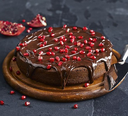Squidgy chocolate & pomegranate torte