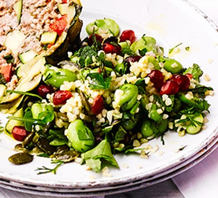 Fennel, pomegranate & broad bean salad