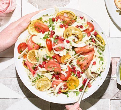 Fennel, roast lemon and tomato salad on a plate