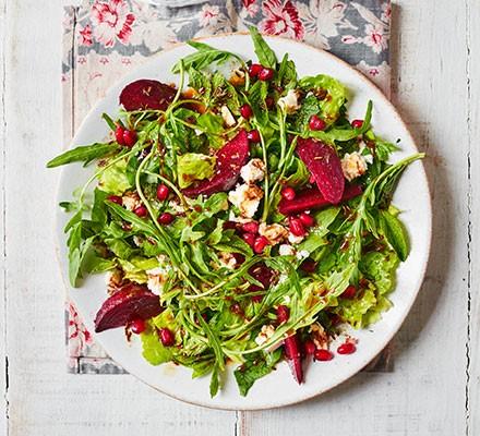 Feta, beetroot & pomegranate salad served on a plate