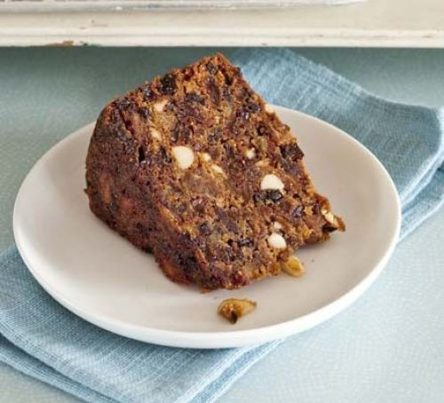 Honey and fig Christmas cake slice on a plate