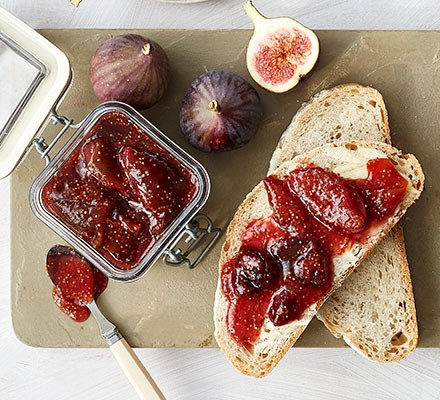 Fig jam spread onto white bread