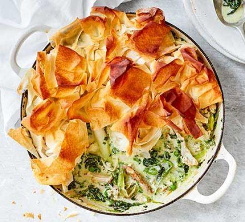 Chicken filo pastry pie in dish