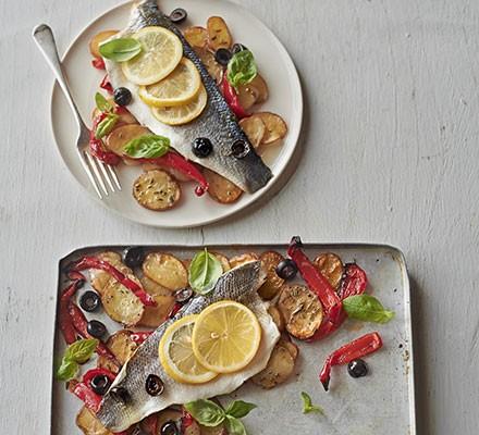 Roast sea bass & vegetable traybake