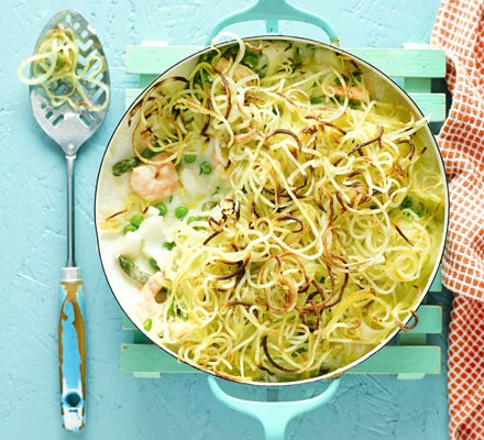Fish pie with shoestring potato topping