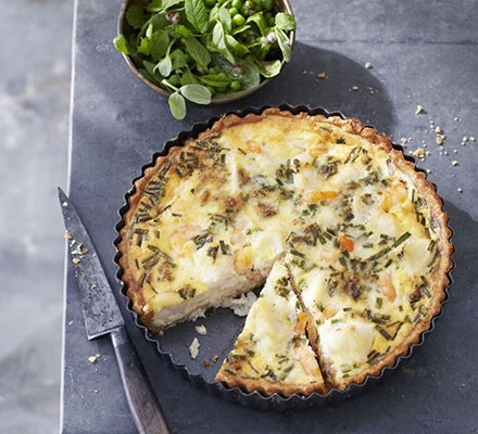 Fish pie tart with minted pea salad