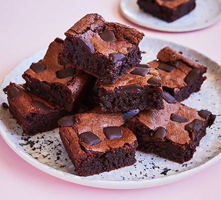A selection of flourless brownies on a plate