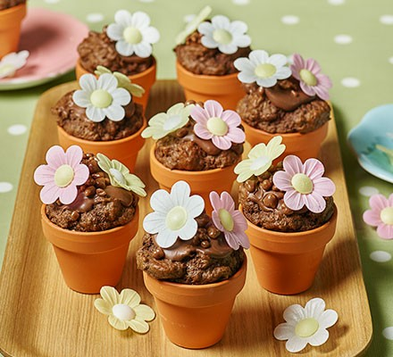 Flowerpot chocolate chip muffins