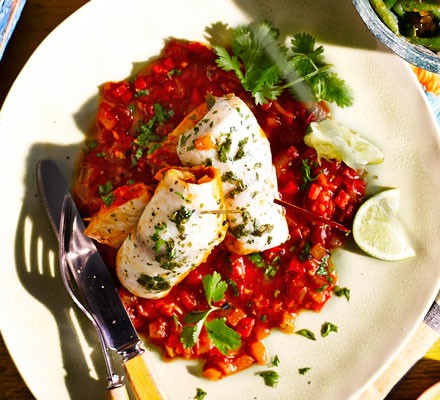 Flying fish with red pepper sauce & cou-cou