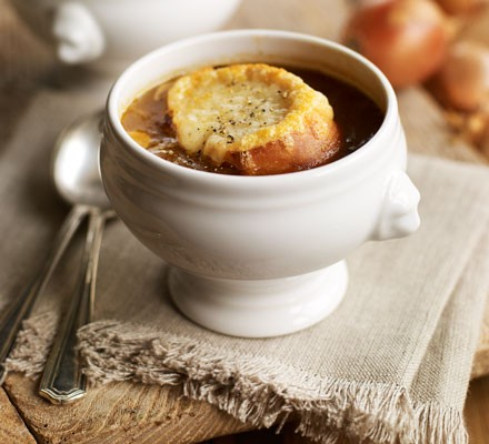 French onion soup in two bowls with onions
