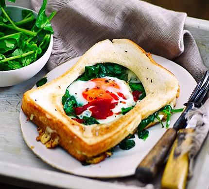 Fried egg Florentine toastie