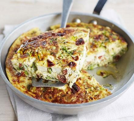 Pea, feta & summer herb frittata